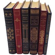 Six (6) Vintage Leather Gilt Tooled Books Franklin Library '80's '90's O'Henry Hemingway Kafka