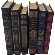 six (6) Vintage Leather Gilt Tooled Books Franklin Library '80's '90's Cooper Du Maurier Dicke