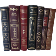 Seven (7) Vintage Leather Gilt Tooled Books Franklin Library '80's '90's Emerson Flaubert Faul