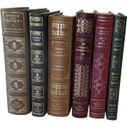 Six (6) Vintage Leather Gilt Tooled Books Franklin Library '80's '90's Eliot Faulkner Dostoevs