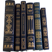 SALE Six (6) Vintage Leather Gilt Tooled Books Franklin Library