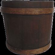 Banded Wooden Sap Syrup Bucket Trash Can Waste Basket Bin