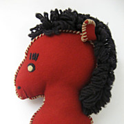 Vintage Stick Pony Hobby Horse Red 1950's
