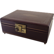 "Vintage Thorens Switzerland Music/Jewelry Box ""Some Enchanted Evening"" Burgundy Leat"