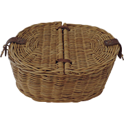 Vintage Two Part Hinged Wicker Oval Basket Leather Toggle Closure Storage