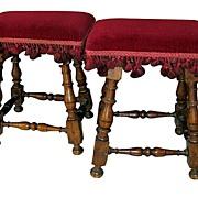 Pair of Italian Walnut Stools, Turned Legs Upholstered Seat