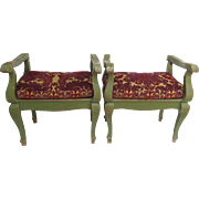 Pair of Country Painted Window Seats Benches Stools Late 19th Early 20th