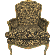 French  Louis XV Style Gilt and Painted Bergere Chair with a Leopard Print Upholstery