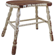 Vintage Painted Wooden Windsor Style Sausage Turned Double H Stretcher Stool