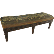 Long Carved French Walnut Louis XV Style Stool 19th Century Upholstered Tapestry Fragment