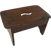 English Elm Small Stool Country Primitive Hand Stand Display