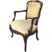 French 19th Century Rosewood Carved Arm Chair Great Patina