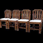 Set of Four English Elm Hepplewhite Side Chairs
