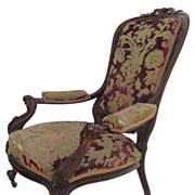 "Grand Carved Mahogany Armchair c 1890  ""Santa's Chair"" Original Cut Velvet"