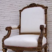 French Louis XIV Style Armchair with Carved Gilt Frame.