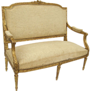 French Carved Gilt Louis XVI Style Settee