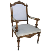 Carved Antique Eastlake Arm Chair