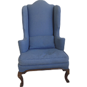 French Walnut Wing Chair Cabriole Leg 18th Century