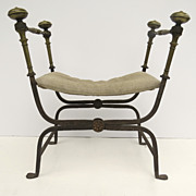 "Italian Wrought Iron Brass X frame stool, ""Faldistorio"""