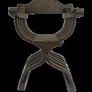 Walnut Savonarola X Frame Curule Folding Chair with Inlaid Back