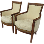 Two French Empire Walnut Arm Chairs Early 19th Century