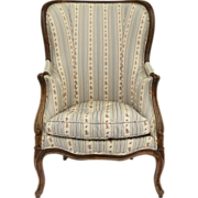 French Louis XV Bergère Walnut Chair