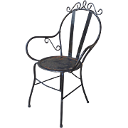 Vintage Wrought Iron Garden Bistro Arm Chair