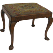 Walnut Queen Anne Style Stool with Needlepoint Seat Slipper Foot