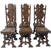Set of Eight (8) Syrian Damascus Ottoman Inlaid Late 19th Century Chairs 2 Arm Chairs ...