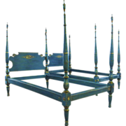 Pair of American Painted Twin Four Poster Beds