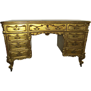 Gilt Nine Drawer Kneehole dDesk by Geo. C. Flint and Co.