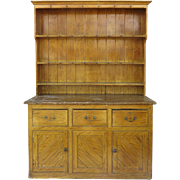 English Faux Grain Painted Dresser and Rack Cupboard Storage Country Cottage Farmhouse