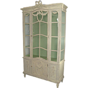 French Carved and Painted Cabinet with Glass DoorsRibbon Motif and Garland
