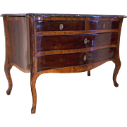 Rosewood Serpentine Marble Top Commode