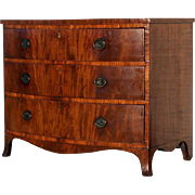 English Mahogany Cross Banded Bow Front French Foot Chest of Drawers