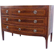 Italian Walnut Three Drawer Bow Front Commode