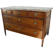 French Fruitwood Marble Top Commode Chest of Drawers c 1830