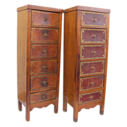Tall Tooled Leather Front 6 Drawer Chest of Drawers