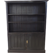 Arts & Crafts Ebonized Black Narrow Bookcase Cupboard c 1900