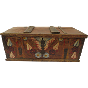Italian Floral Painted County Provincial Primitive Trunk Chest Table