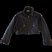 Super Soft Black Leather Studded Isaac Mizrahi 90's Cropped Jacket