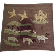 Vintage Inuit Eskimo Felt Applique Embroidered Wall Hanging