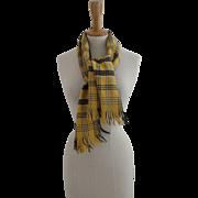 """The Moorland Wrap"" Scotland Wool Scottish Plaid Black Yellow Scarf Fringe"