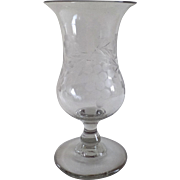 19th Century Glass Footed Vase Copper Wheel Engraved Grape Pattern