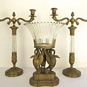 Gilt Bronze Centerpiece and Pair of Candlesticks