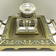 Wonderful Cut Glass Inkwell with Brass Stand Serpent Motif