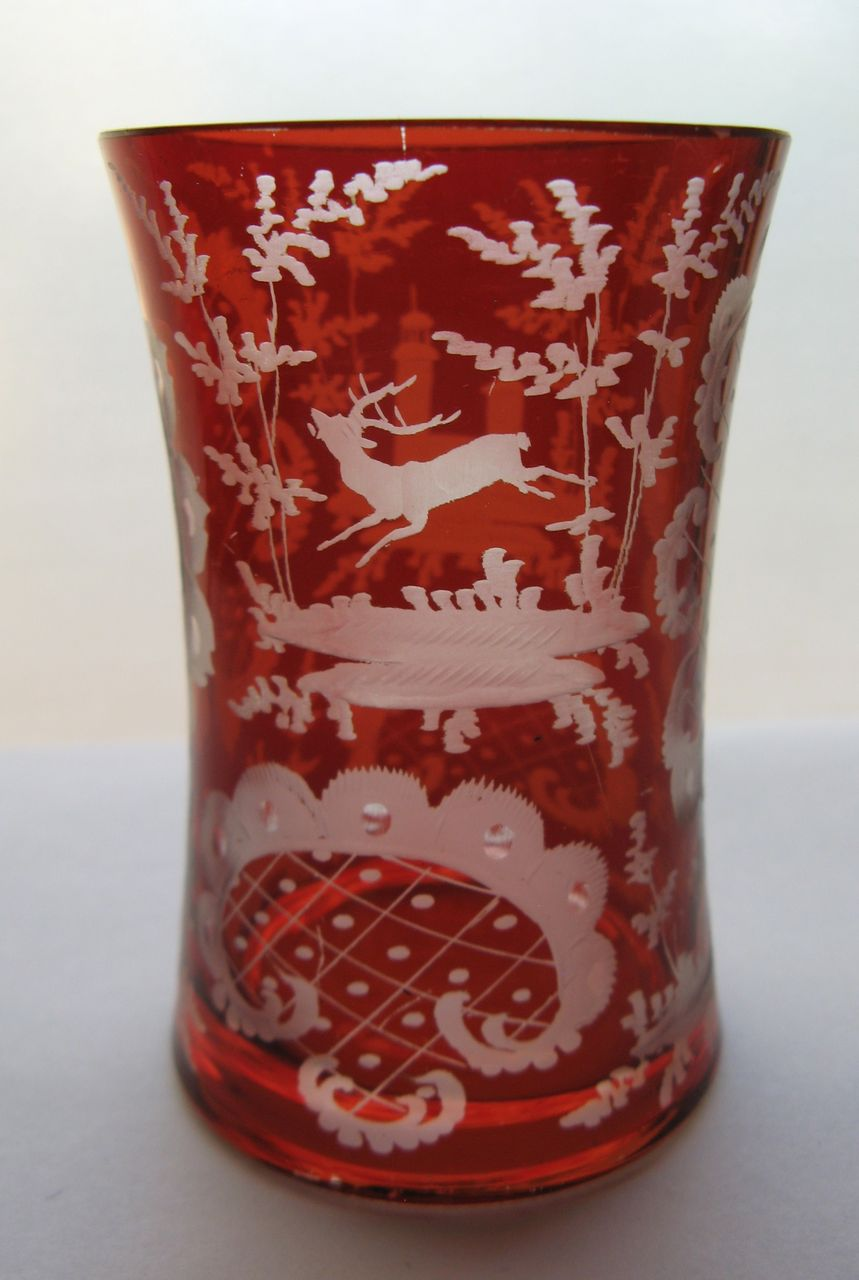 Bohemian Glass Beaker with Etched Motif from blacktulip on
