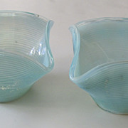Pair of Blue Opaline Glass Bobeches