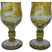 Pair of Bohemian Yellow Cut to Clear Goblets