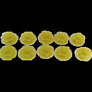 Set of Ten (10) Italian Petal Lemon Yellow Dessert Fruit Bowl with Underplates Sugarware Rough